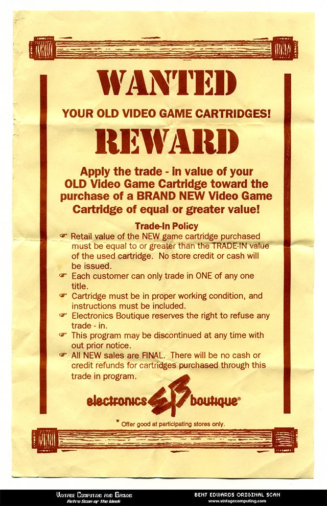 GameStop's Trade-In Program, the 1993 Edition