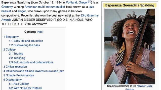 Bieber Fans Attack Esperanza Spalding's Wikipedia Page