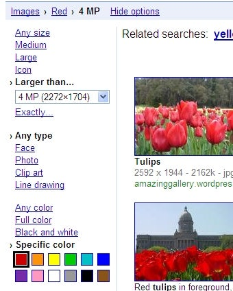 Google Images Offers Search by Size and Face Recognition
