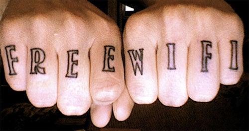 Caption Contest: 'Free WiFi' Knuckle Tattoos