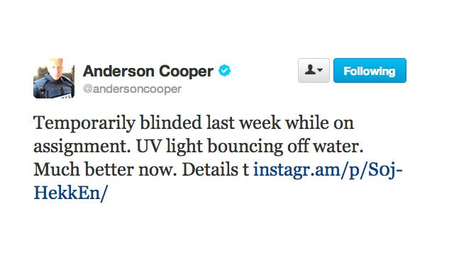 Poor Anderson Cooper Is Wearing an Eye Patch (Don't Worry, He's Going to Be Fine)