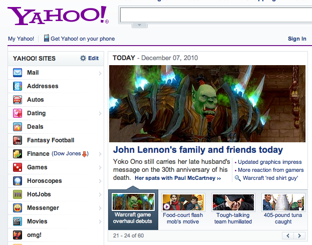 Yahoo! Can't Tell the Difference Between Yoko Ono and World of Warcraft Monster