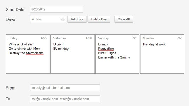 Short Calendar Helps You Plan Out Your Long Weekend Over Email