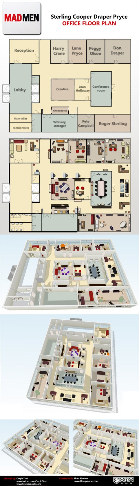 Hit the Whiskey Room on the Way to Joan's Office With This Mad Men Floorplan