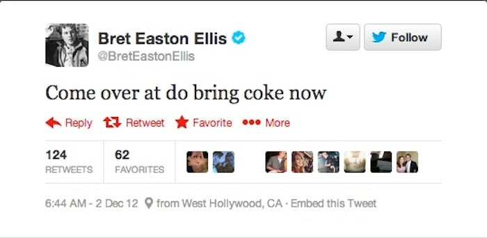 Bret Easton Ellis Accidentally Tried to Score Some Coke on Twitter