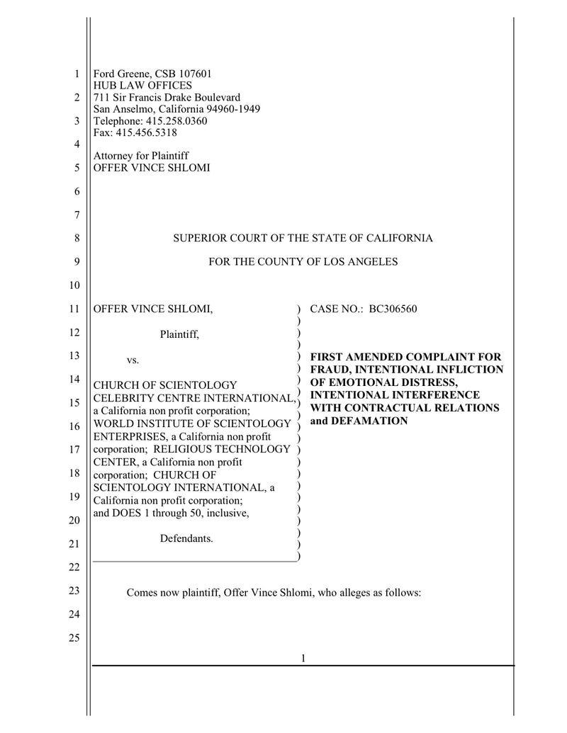 Vince Shlomi Scientology Complaint