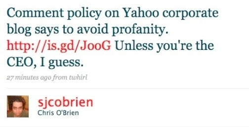No Cursing at Yahoo Corporate, Except for Carol Bartz