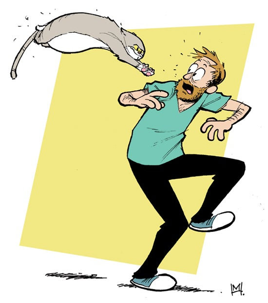 Artist drew himself and his cat in 100 different cartoonists' styles