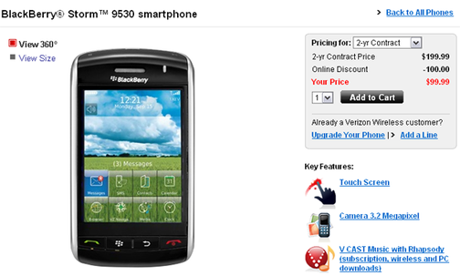 Verizon Cuts BlackBerry Storm's Price to $99
