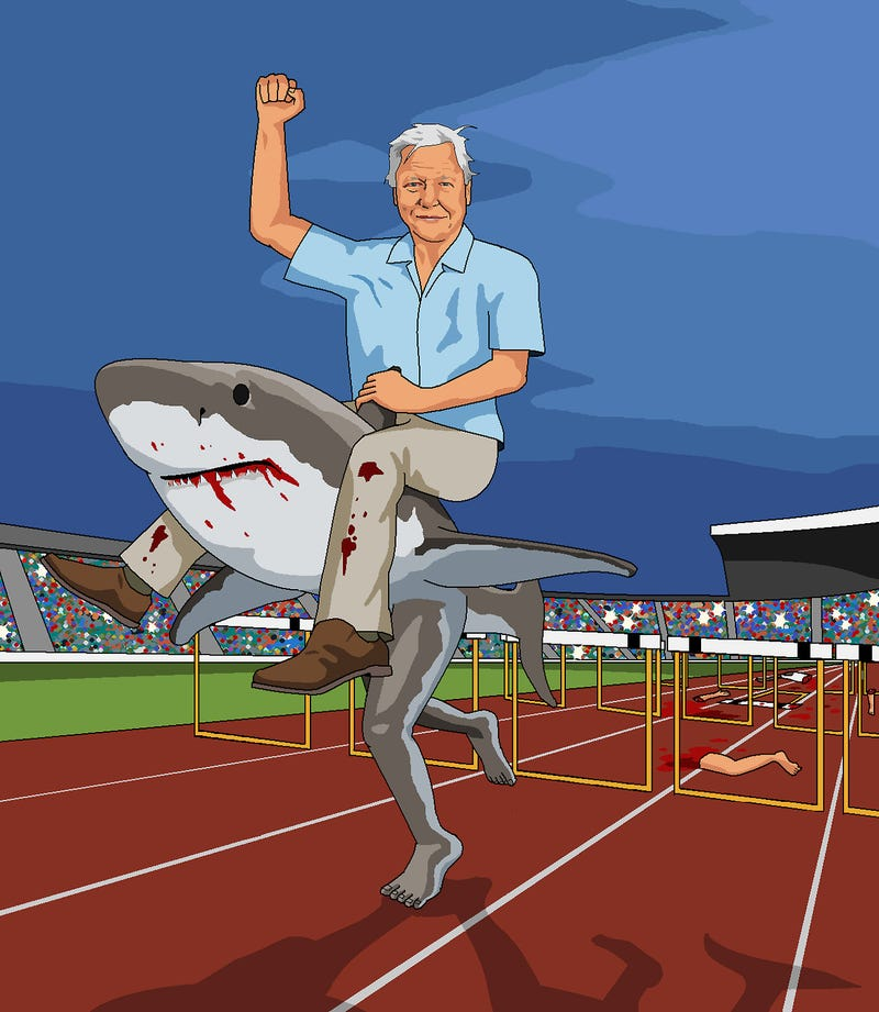 And Now, David Attenborugh Astride a Hungry, Hurdling, Bipedal Shark