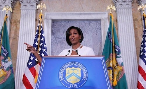 Michelle Obama Owns The Podium