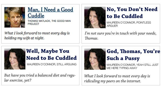 Room for Debate: Does This NYT Columnist 'Need a Good Cuddle'?