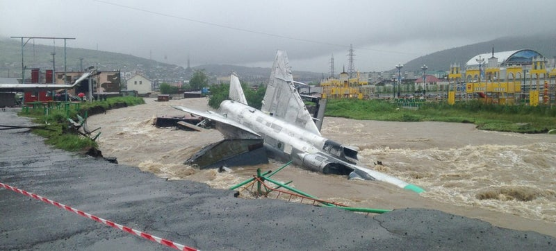 Flood Washes Away Fighter Jet In Russia