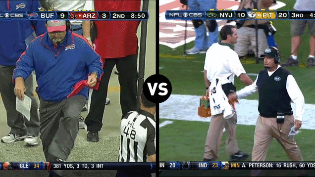 Who Has The Funnier Challenge-Flag-Throwing Motion, Rex Ryan Or Chan Gailey?
