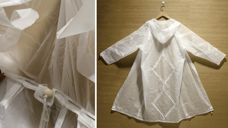 Origami Raincoat Turns Inside Out With a Quick Yank On a Drawstring