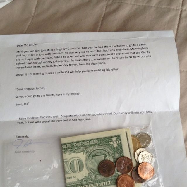 Six-Year-Old Sends Brandon Jacobs $3.36 To Stay With The Giants