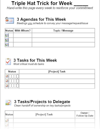 "Printable ""Triple Hat Trick"" Checklist Helps You Knock Out a Great Week"