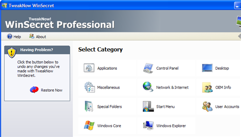 Reconfigure Windows with TweakNow