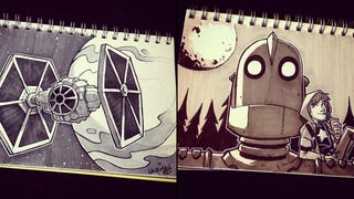 A TIE Fighter and the Iron Giant, from artist-slash-game-dev Derek Laufman. These are part of the Inktober campaign, where artists create one ink drawing a day in October to improve their skills. Laufman's already pretty good, as you can see. There's more of his stuff below, and on his deviantART and Tumblr pages.