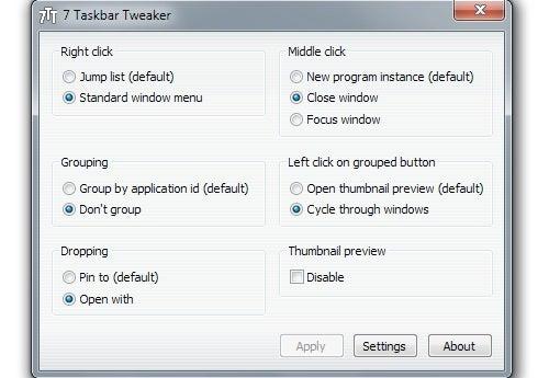 7 Taskbar Tweaker Brings Fine-Grained Control to Windows 7's Taskbar
