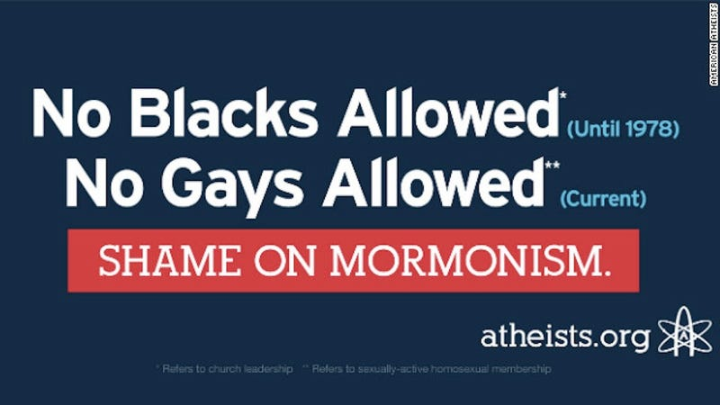 Billboard Criticizing Mormon Stance on Blacks and Gays to Follow Mitt Romney's Bus Around for Awhile