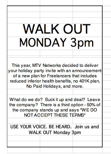MTV Networks Employees Plan Walkout For Monday