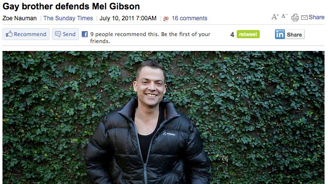 Mel Gibson's Gay Brother Not Bothered by Homophobic Rants