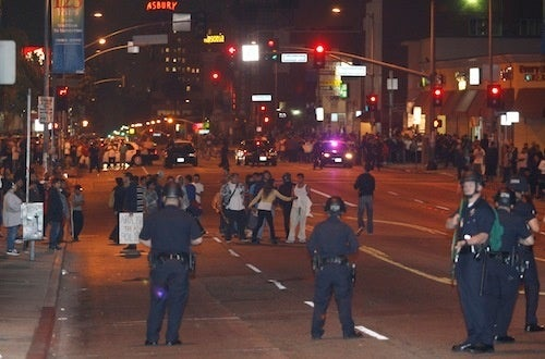 LAPD Fires Nonlethal Projectiles Into Crowd of Protestors
