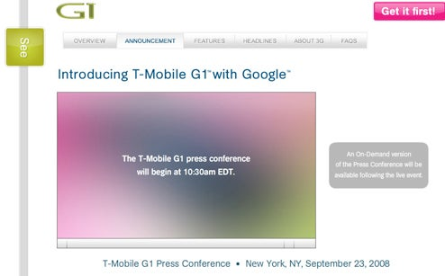 T-Mobile G1 With Google Website Is Live