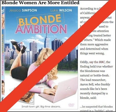 Turns Out Hot Blonde Women Are No More Entitled Than Other Hot Women