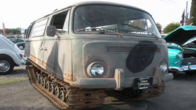 Half Volkswagen Bus, half Studebaker tank, all awesome