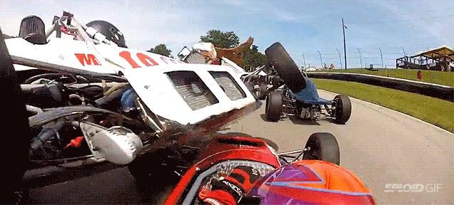 Flying race car narrowly avoids decapitating another pilot