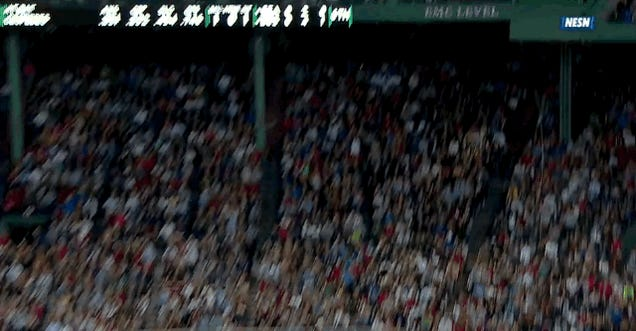 Red Sox Fan Dives Across His Row For Foul Ball, Doesn't Get It