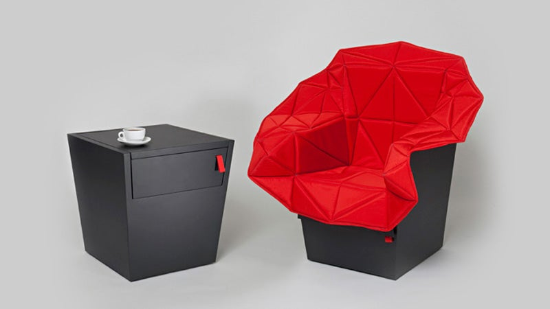 Fold Out Emergency Chair Hides Inside a Monolithic End Table