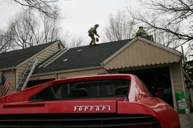 Kansas City Man Saves Beloved Ferrari, Lets House Burn