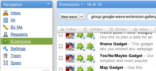 Google Wave Extensions Gallery: A Single Place to Find Great Wave Extensions