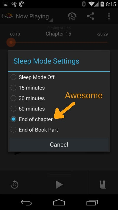 "Use ""End of Chapter"" Sleep Function for Better Audiobooks"