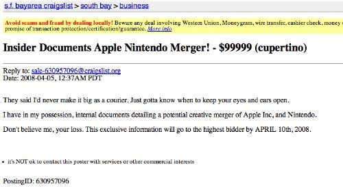 Craigslist Auction for Nintendo & Apple Merger Documents Has Us Reaching for Our Wallets