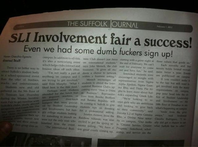 """Dumb Fuckers"" Attend University Club Fair, Student Paper Reports"