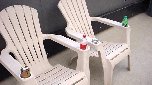 Repurpose Frosting Containers as Cup Holders on Cheap Outdoor Furniture