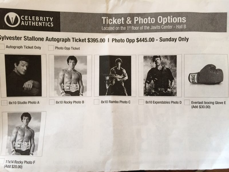 Sylvester Stallone Charged $395 per Autograph at NY Comic-Con