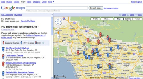 Google Maps Shows You the Way to Your Swine Flu Vaccine