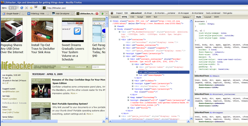Widerbug Tweaks Firebug to Fit Your Wide Screen