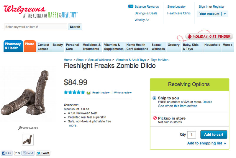 Hold the Phone: Walgreens Is Selling a ZOMBIE DILDO