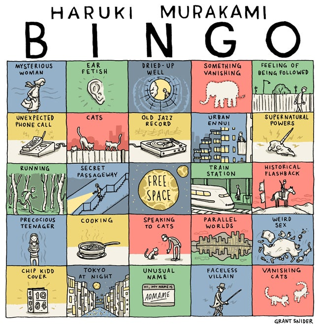 Play Haruki Murakami Bingo as you read 1Q84