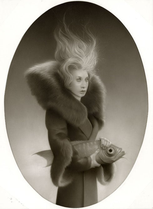 Portraits of proper Victorians with their pet troll heads and yetis