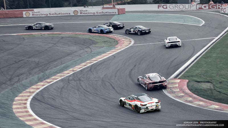 A swarm of race cars at Spa-Francorchamps