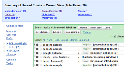 Better Gmail 2 Summarizes Unread Messages by Sender