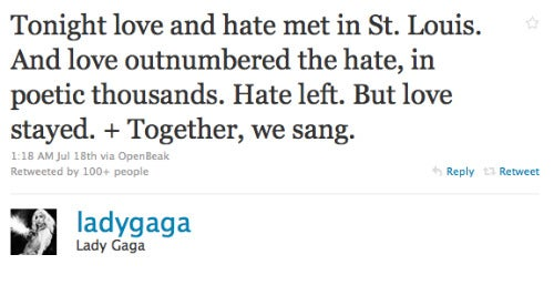 Gaga Puts Baptist Protesters To Well-Deserved Shame