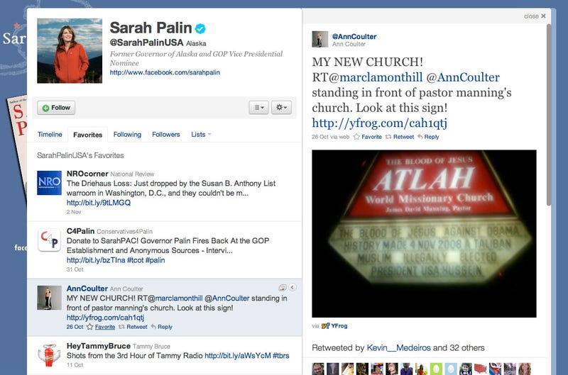 Sarah Palin's 'Favorite' Tweet Is About Our 'Taliban Muslim Illegally Elected President'